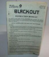 Blackout Pinball Machine Mini Handbook Williams Original 1980 Game Booklet