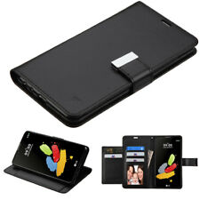 LG STYLO 2 / PLUS DESIGN WALLET CASE PU LEATHER CREDIT CARD PHONE COVER - BLACK