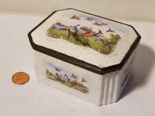 c1760 Rare Antique Battersea / Bilston Enamel Table Snuff Box Hand Painted BIRDS