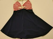 Ya Ya Bay 1 Piece Swimsuit Womens Sailor Halter White Strap Blue Red White
