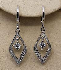 "18K White Gold Filled - 1.3"" Hollow Diamond Style Topaz Zircon Party Earrings"