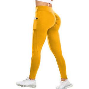 Women Ruched Scrunch Yoga Pants Pockets Leggings High Waist Butt Lift  Workout