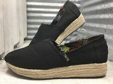 Bobs Skechers Espadrille Black Canvas Coated Women's Slip On Size 9