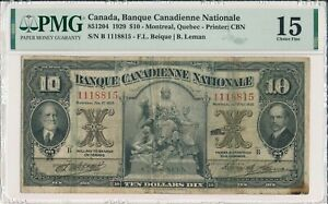 Banque Canadienne Nationale Canada  $10 1929 S/No 111881x PMG  15
