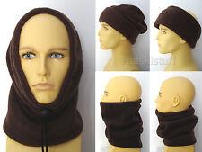 Adult men's womans BROWN SNOOD fleece neck ear warmer scarf hat ski balaclava