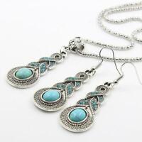 Damen Turquoise Schmuck Halskette Ohrringe Blau Kristall Strass s/# P6R3