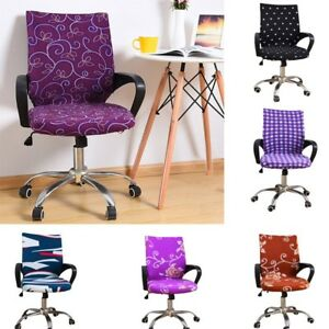 Office Swivel Chair Cover Rotate Chair Wearproof Seat Cloth Slipcover One Piece