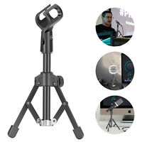 Mini Metal Foldable Tabletop Tripod Microphone Stand with Mic Clip Holder