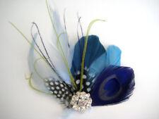 Wedding Teal Royal Blue Peacock Green Feather Fascinator Rhinestone Hair Clip