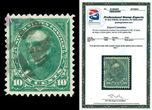 Scott 273 1895 10c Webster Issue Used XF+ Light Cancel with PSE CERTIFICATE!