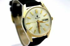 *NOS* Vintage BUREN Day Date Automatic Gold Tone Men's Dress Watch CLEAN