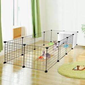 Bedroom Livingroom 14-Panel Pet Playpen Small Animals Cage Metal Wire Yard Fence