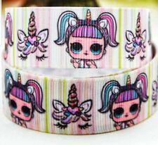 "7/8"" 2 Yards Lol Suprise Girls Grosgrain Ribbon Unicorn Gift Wrap Bows Cards"