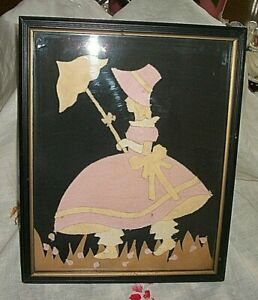 Folk Art Felt Little Bo Peep Girl with Parasol Wood Frame Unique Hand Crafted