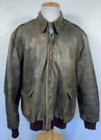VINTAGE L.L BEAN BROWN LEATHER A-2 FLIGHT BOMBER JACKET MENS SIZE XL DISTRESSED