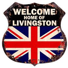 BWUK0766 Welcome Home of LIVINGSTON UK Flag Family Name Sign Decor Gift Ideas