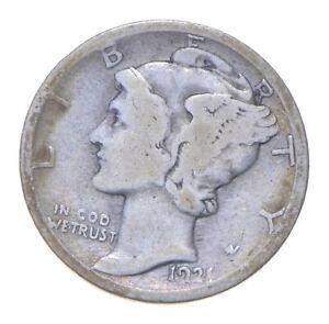 Rare - Key Date 1921-D Mercury Silver Dime - Low Mintage *428