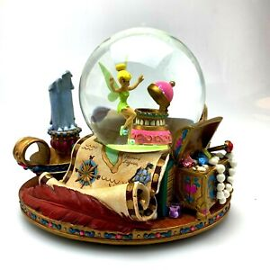 Disney Store Tinker Bell Musical Large Snow Globe | Peter Pan | w/ Updated Music