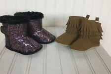 Baby Girls Boots Sz 6-12 Months Glitter/Brown Fringe Booties/Shoes