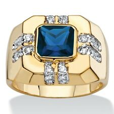 BLUE SPINEL MENS 14K GOLD WHITE CZ GP  RING SIZE 8 9 10 11 12 13
