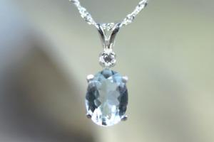 AQUAMARINE - Genuine Sea-blue Aquamarine .925 Sterling Silver Necklace 0.89 ct