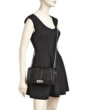 NWT $295 REBECCA MINKOFF BLACK LEATHER GEO QUILTED LOVE CROSSBODY BAG