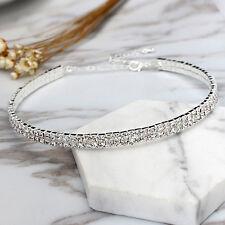Women Bling Clear Crystal 2 Row Rhinestone Choker Necklace Wedding Charm Jewelry