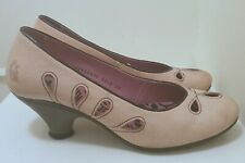 Fly London Pink Leather Court Shoes Mid Heels Cut Out Detail UK 5  EU 38 RRP £85
