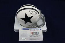 Bob Lilly Signed Auto Cowboys White T/B Mini Helmet W/HOF 80 - SCH Authentic
