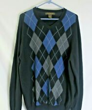 Sebastian Cooper Sweater Argyle Black Blue Gray Men's Large Cashmere Cotton Soft