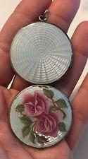 Antique Guilloche Enamel Victorian Sterling Silver Locket Necklace Deco Rose 925