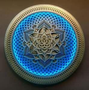 """Wall Art Deco Sacred Geometry Led Lighting Mandala """"Golden Flower"""" Laser Artwork"""