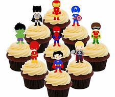 Superhero Party Edible Cup Cake Toppers 36 Fairy Decorations Superman Spiderman
