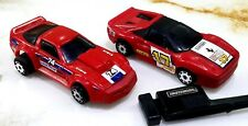 Matchbox BURNIN KEY CAR w KEY LAUNCHER Ferrari #17 Red & Corvette #74 1/64 Rare