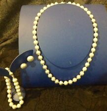 BNIB AUS HANDMADE FRESH WATER GREY PEARLS NECKLACE BRACELET EARRINGS 4 PC SET