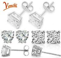Sterling Silver Earrings CZ Clear Crystal Ear Studs Men Women Set Jewelry 3Pairs