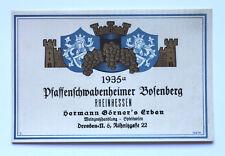Pfaffenschwabenheim`er Bosenberg 1935 Weinetikett Winlabel Rheinhessen