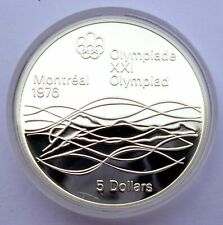Canada 5 Dollars 1975 Silver coin Proof Swimmer - Montreal Olympics Games 1976 !