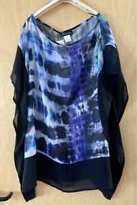KASBAH BOX2 ARTY LAGENLOOK QUIRKY BOHO FLOATY SHEER SUMMER TOP SIZE O/S BNWT