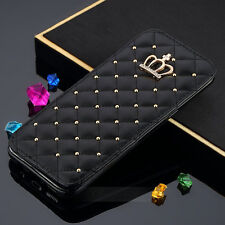 Retro Crown Diamond Wallet Card Flip Leather Cover Case For Samsung Galaxy S8 S7