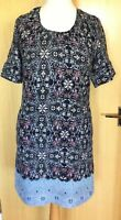 Nomads Dress 10 Summer Tunic Smart Casual Pockets Navy Holiday Work Patterned