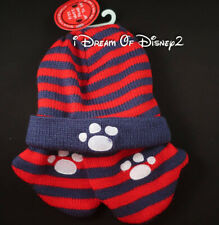 NWT Build-A-Bear RED NAVY KNIT STRIPE MITTENS & HAT SET Teddy WINTER Accessories