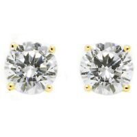 2 Ct Round Lab-created Earrings Diamond Studs Solid 14K Yellow Gold Screw Back
