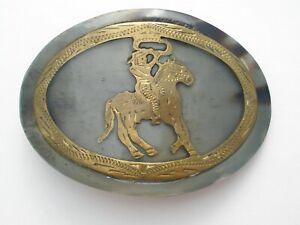 Green Gemstone Cowboy Horse Brass Belt Buckle Mens Rodeo Roping Vintage Handmade