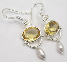 925 Sterling Silver Yellow CITRINE FRENCH HOOK HANDMADE Earrings 1.5 Inch