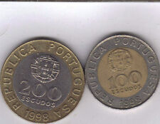 BI-METAL 200 ESCUDO COINS from PORTUGAL 1991 /& 1998 - 2 UNC From Show Inv
