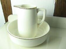 2 teilige antike Waschgarnitur aus Porzellan, Waschkrug mit Waschschüssel, creme