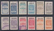 Argentina, Santa Fé, Forbin 290A/297B used 1909 General Tax Fiscals, 12 diff