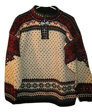 Dale of Norway Fairisle Jumper Sweater Pullover XL Mens Nordic Wool Pewter Clasp