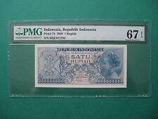 1956 INDONESIA 1 RUPIAH PMG 67 EPQ SUPERB GEM UNC